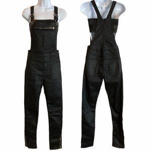 & Denim Black Coated Overalls Size 6